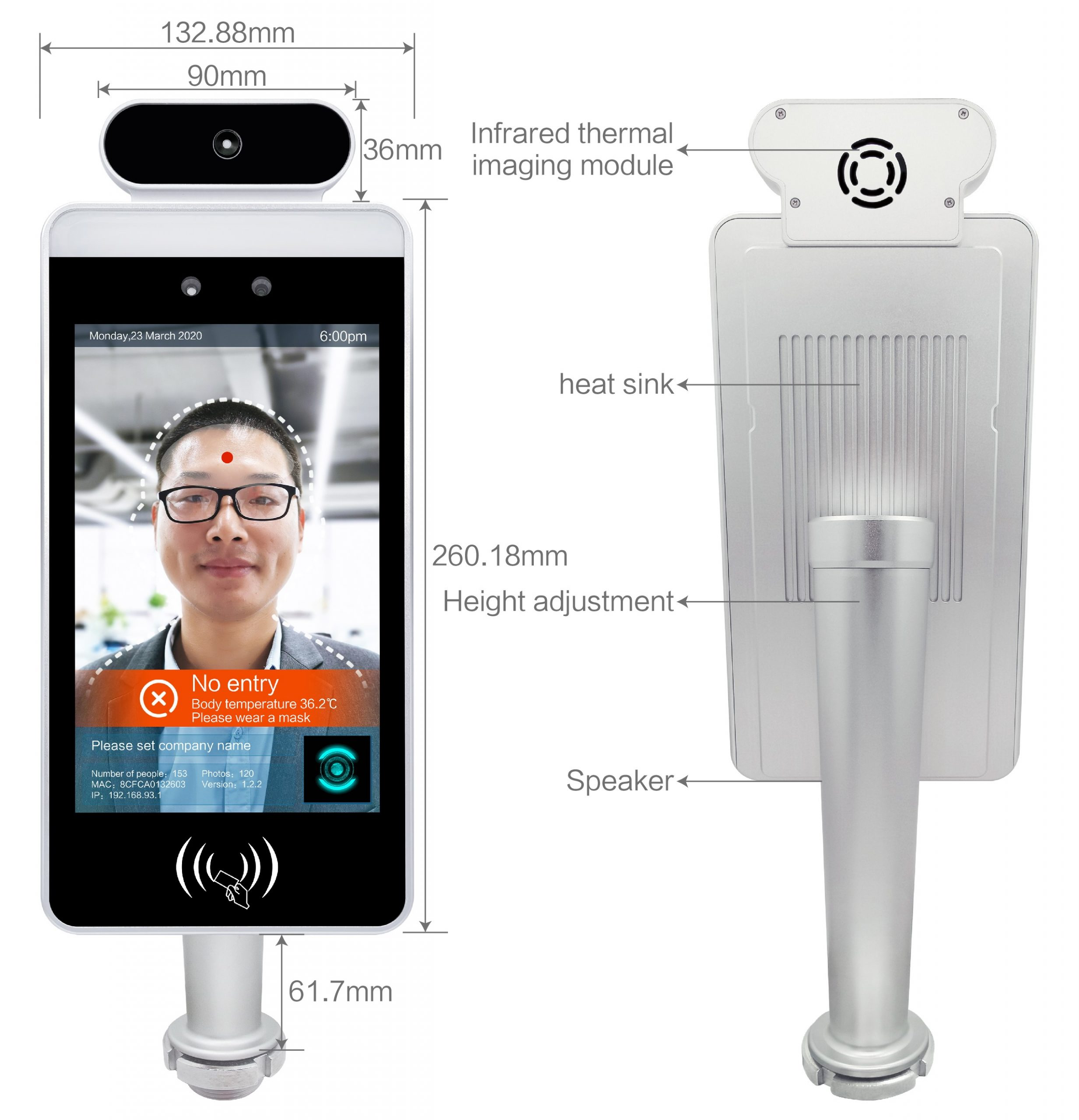 Facial Recognition Temperature Sensor - Appearance and Size