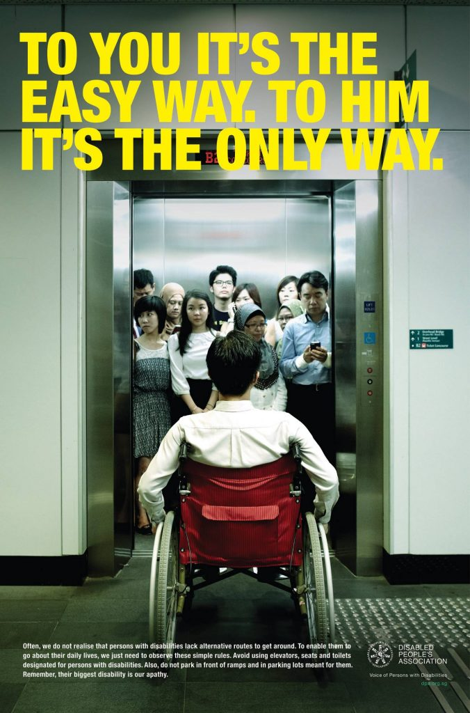 Lift for people with disabilities - To you it's the easy way. To him it's the only way.